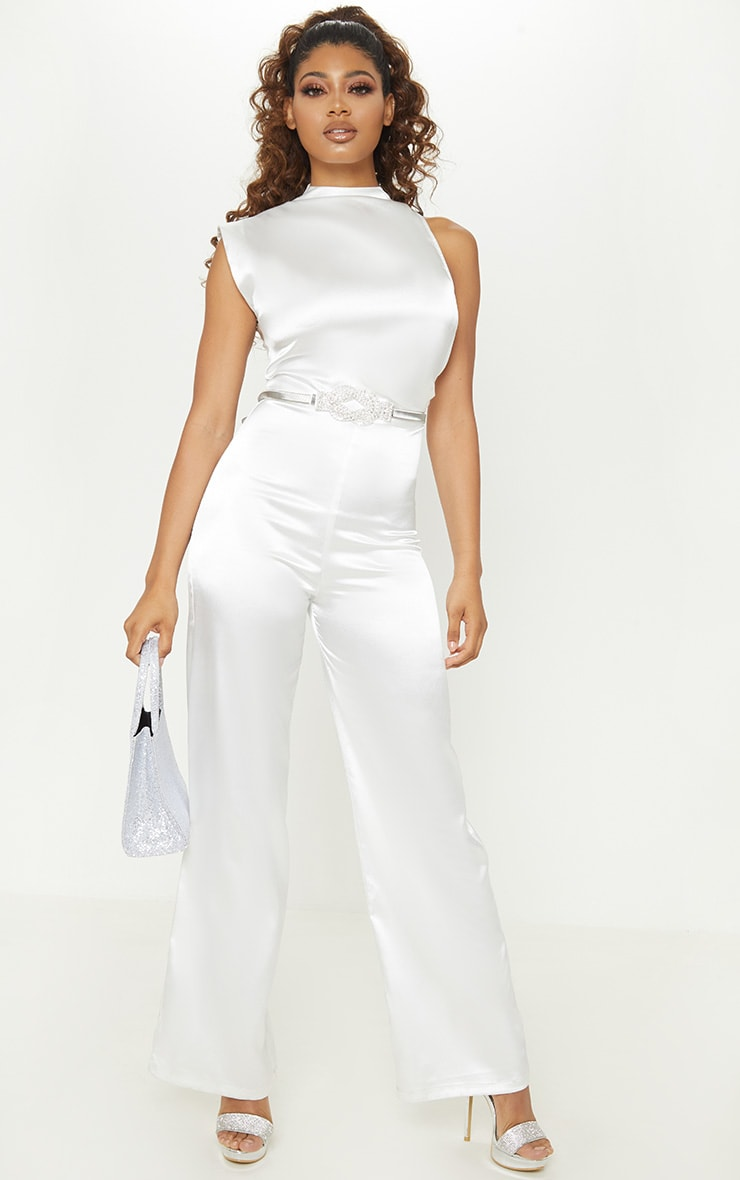 Tall White Satin High Neck Jumpsuit 1