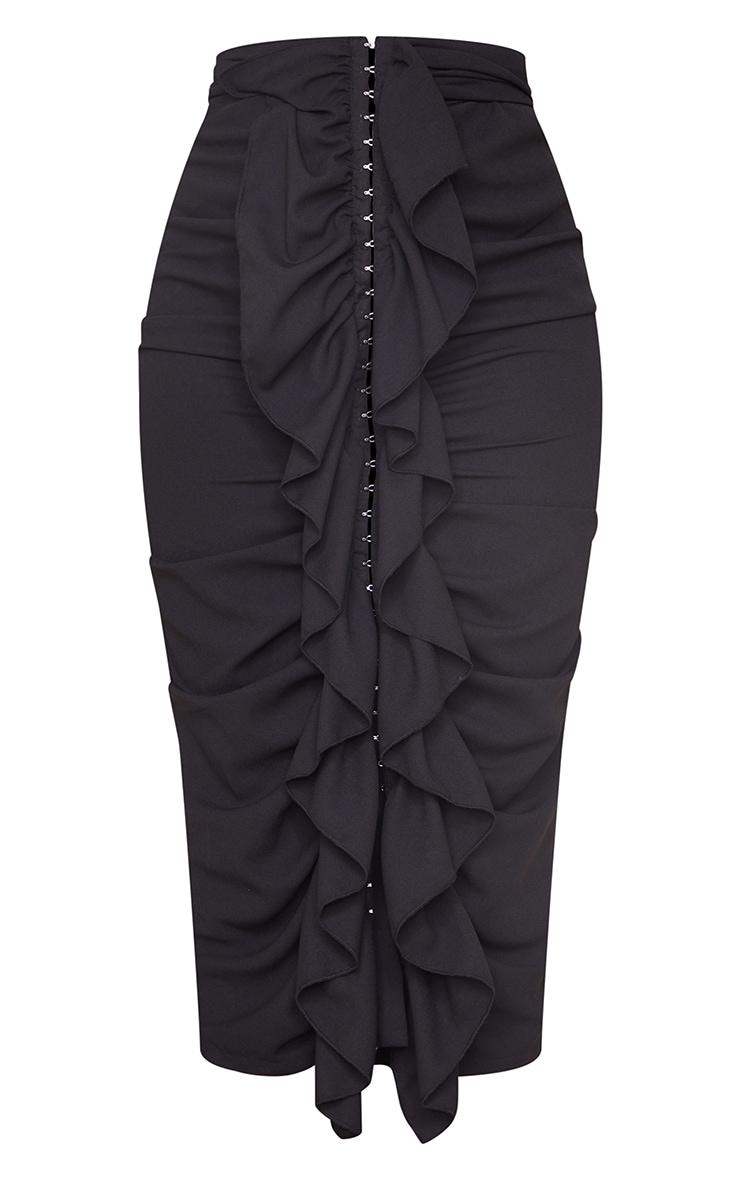 Black Hook And Eye Ruffle Front Midaxi Skirt 5