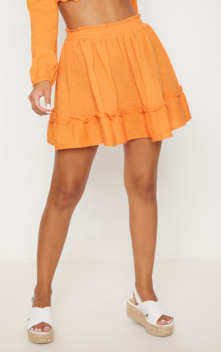 Petite Tangerine Cheesecloth Floaty Skirt 2