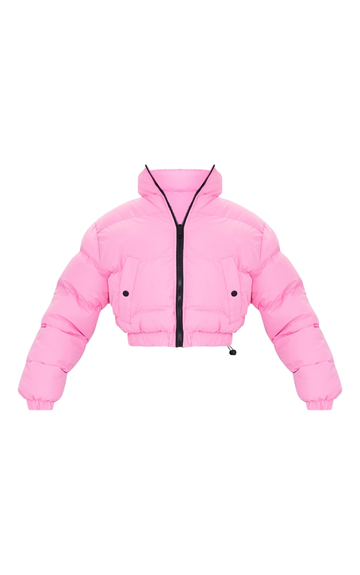 Pink Cropped Bubble Zip Detail Puffer Jacket 5