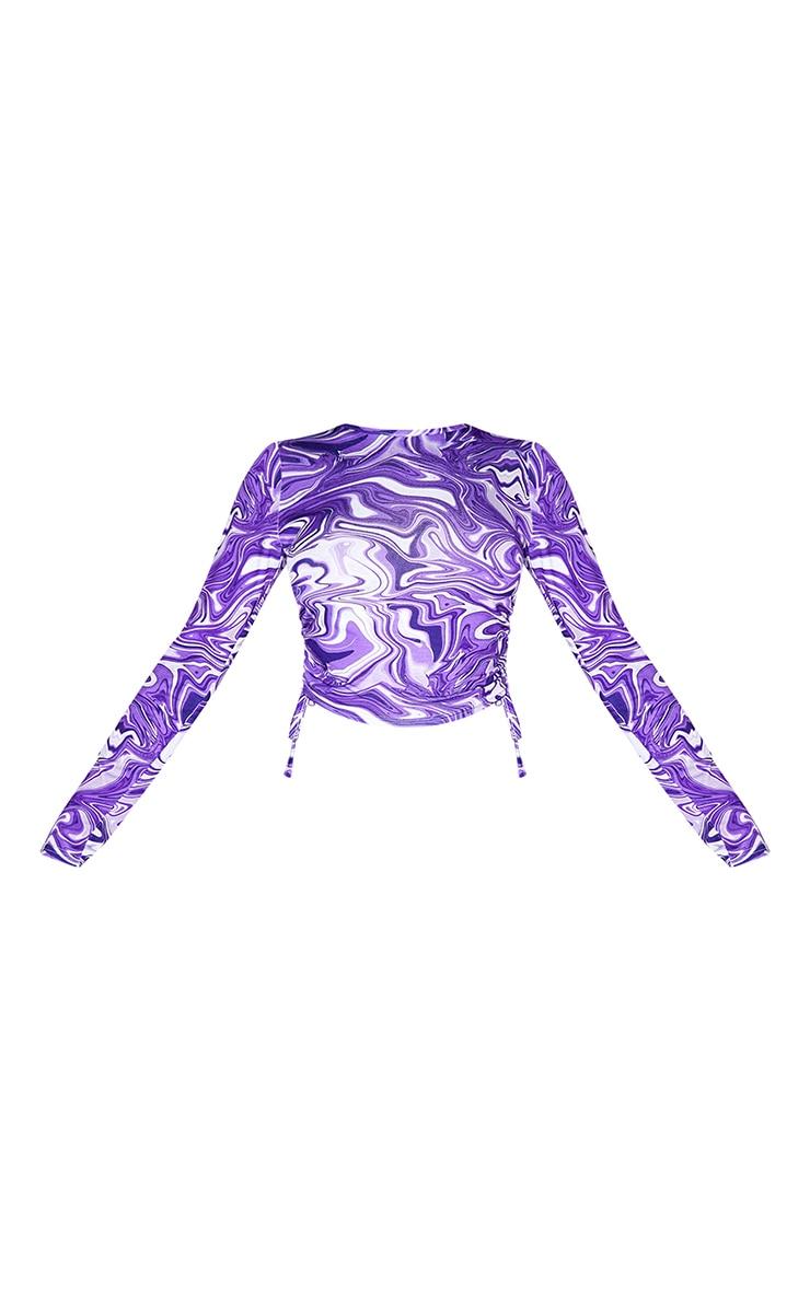 Purple Print Long Sleeve Jersey Tie Ruched Side Crop Top 5