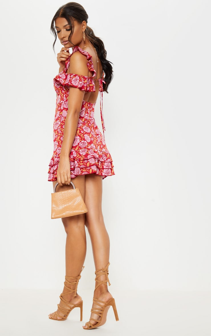 Red Floral Printed Tie Back Shift Dress 4