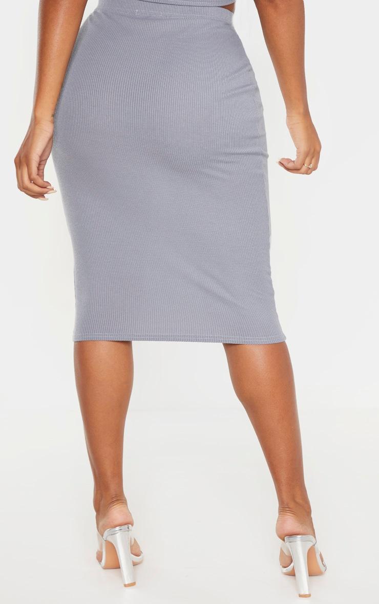 Shape Grey Ribbed Basic Midi Skirt 4