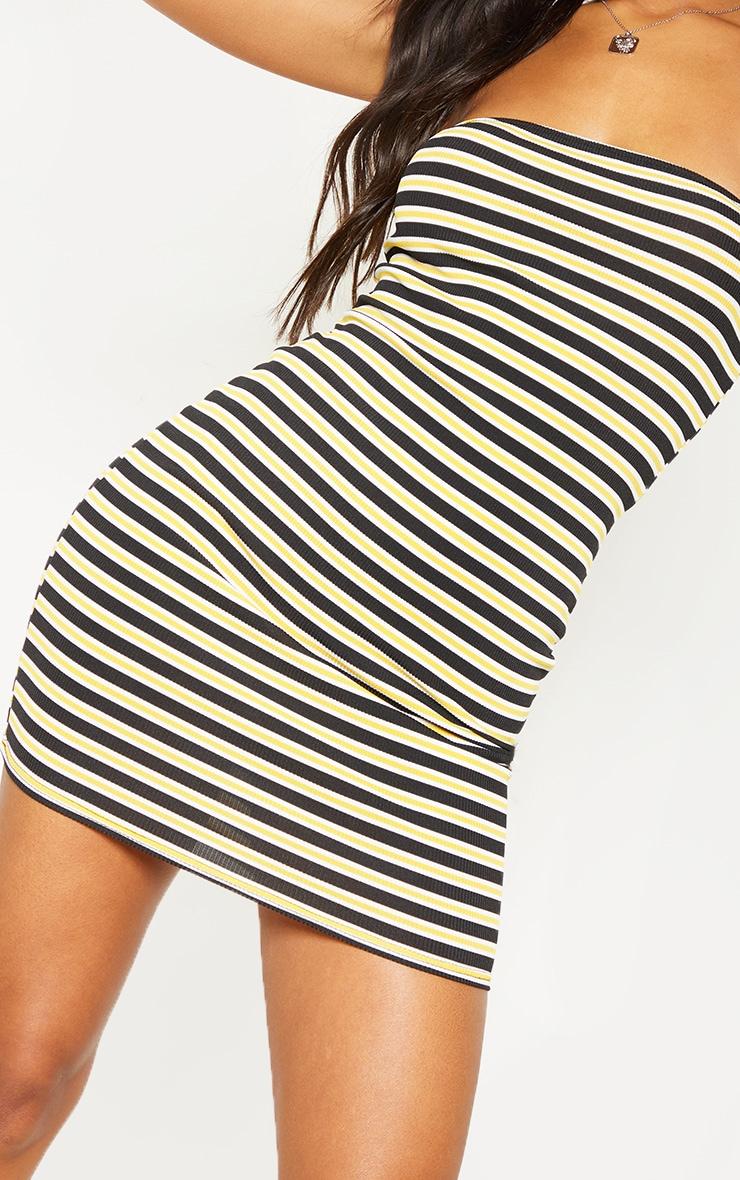 Yellow Ribbed Stripe Bandeau Dress 5