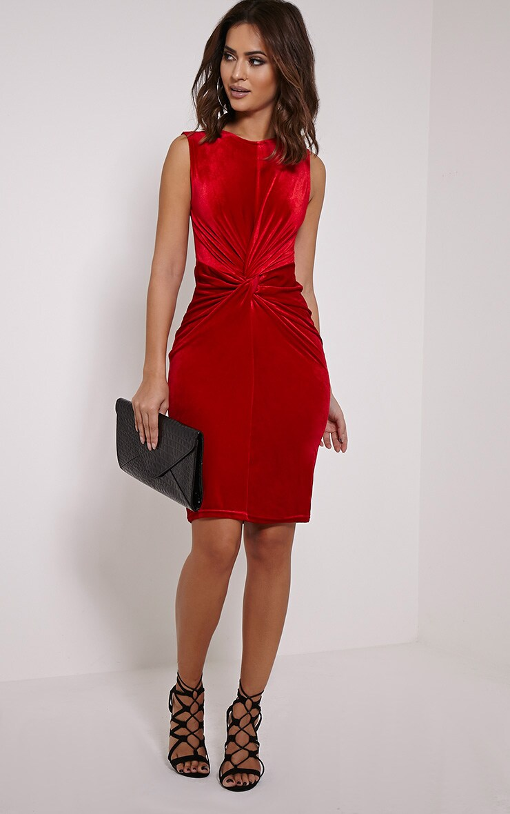 Brianna Red Velvet Twist Front Midi Dress 3