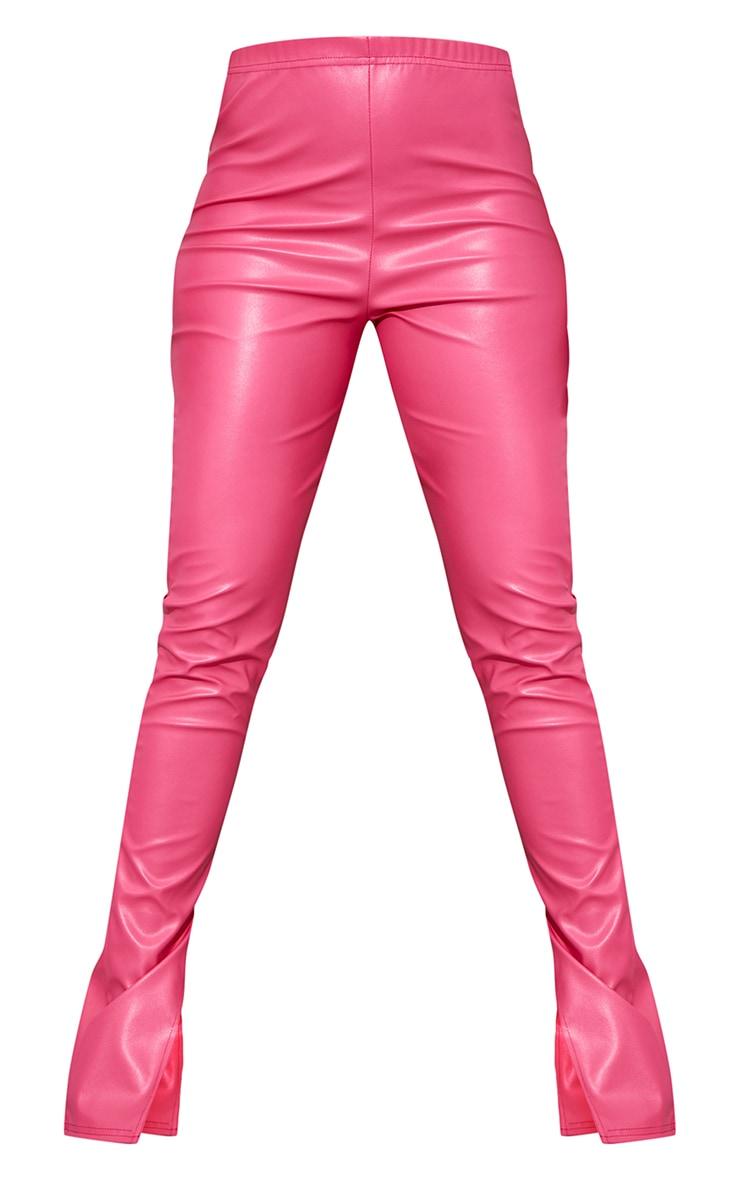 Hot Pink Faux Leather Bum Split Hem Leggings 5