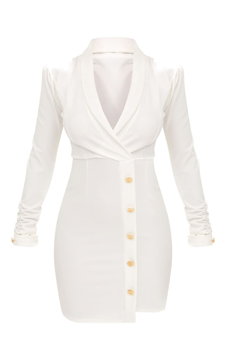 White Gold Button Ruched Sleeve Blazer Dress 3
