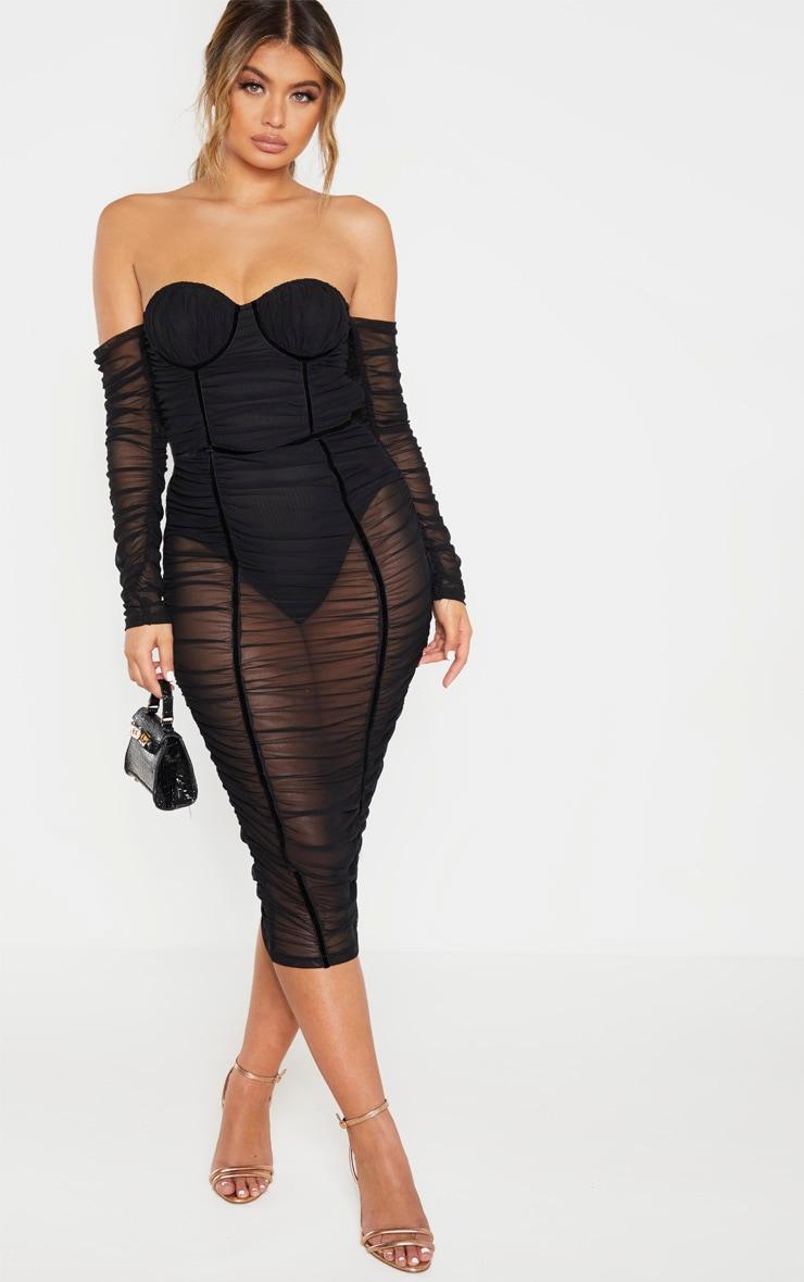 Black Mesh Ruched Velvet Binded Bardot Midi Dress 1