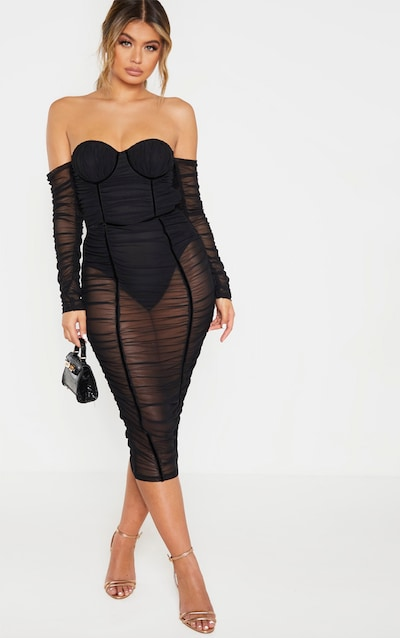 Black Mesh Ruched Velvet Binded Bardot Midi Dress
