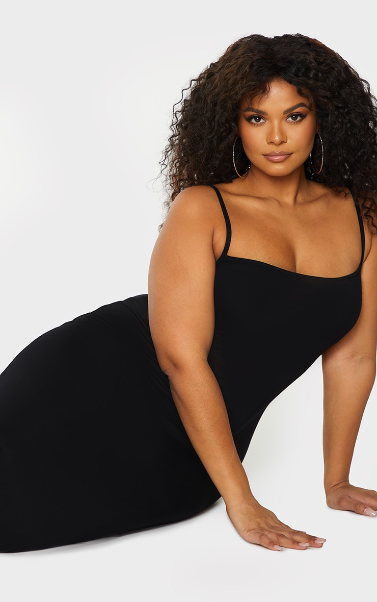 Plus Black Strappy Jersey Maxi Dress 5