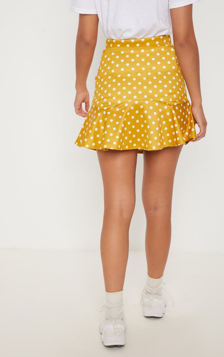 Mustard Printed Flippy Hem Mini Skirt 4