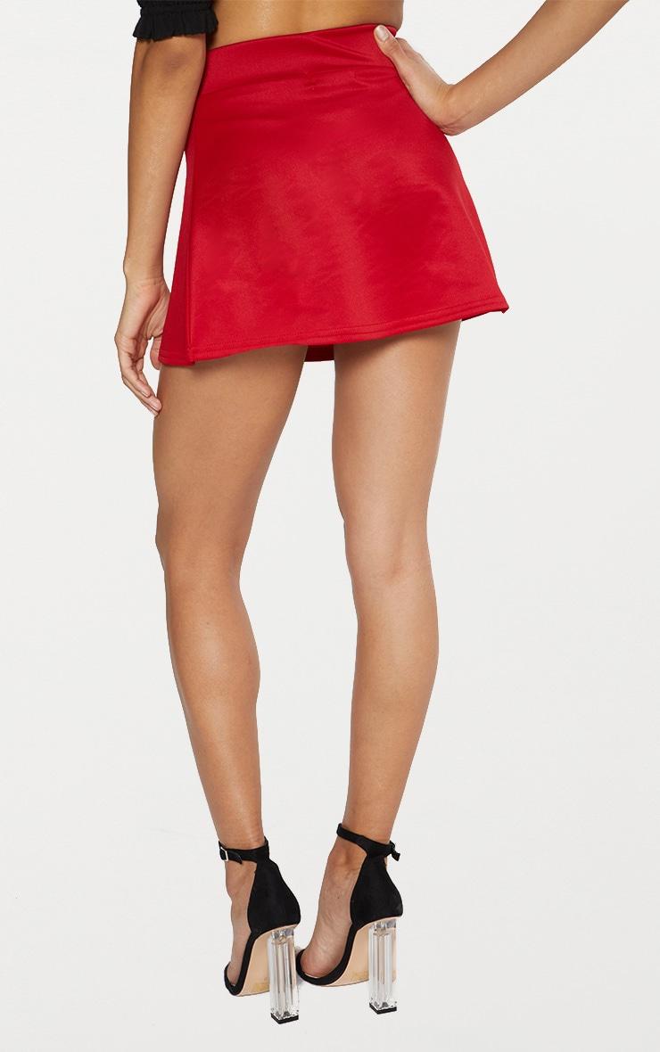 Red Scuba Flippy Mini Skirt  4