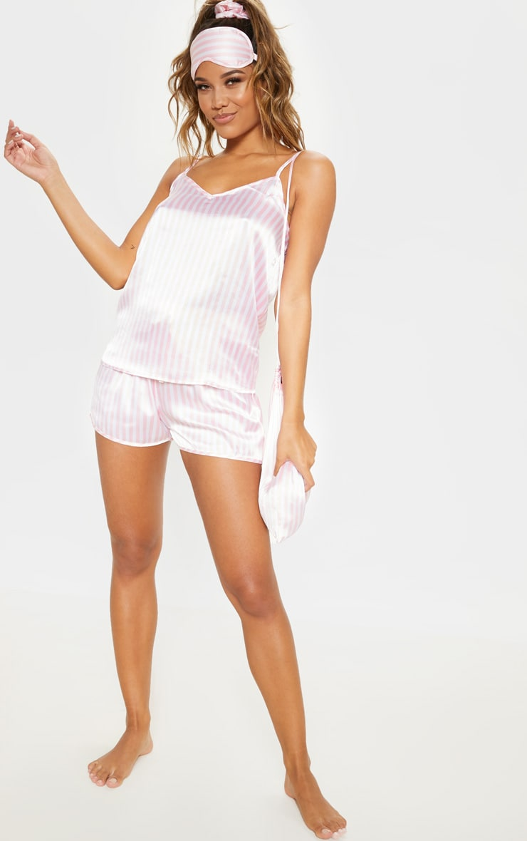 Pink & White Stripe 5 Piece Nightwear Set 4