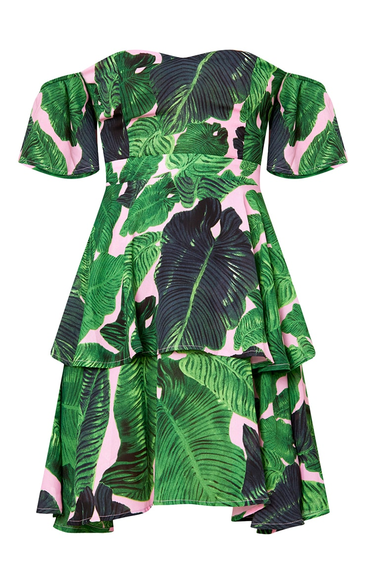 Pink Tropical Print Frill Bardot Swing Dress 3