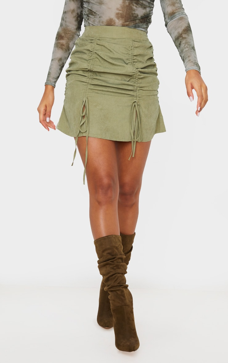 Khaki Faux Suede Double Ruched Detail Mini Skirt 2