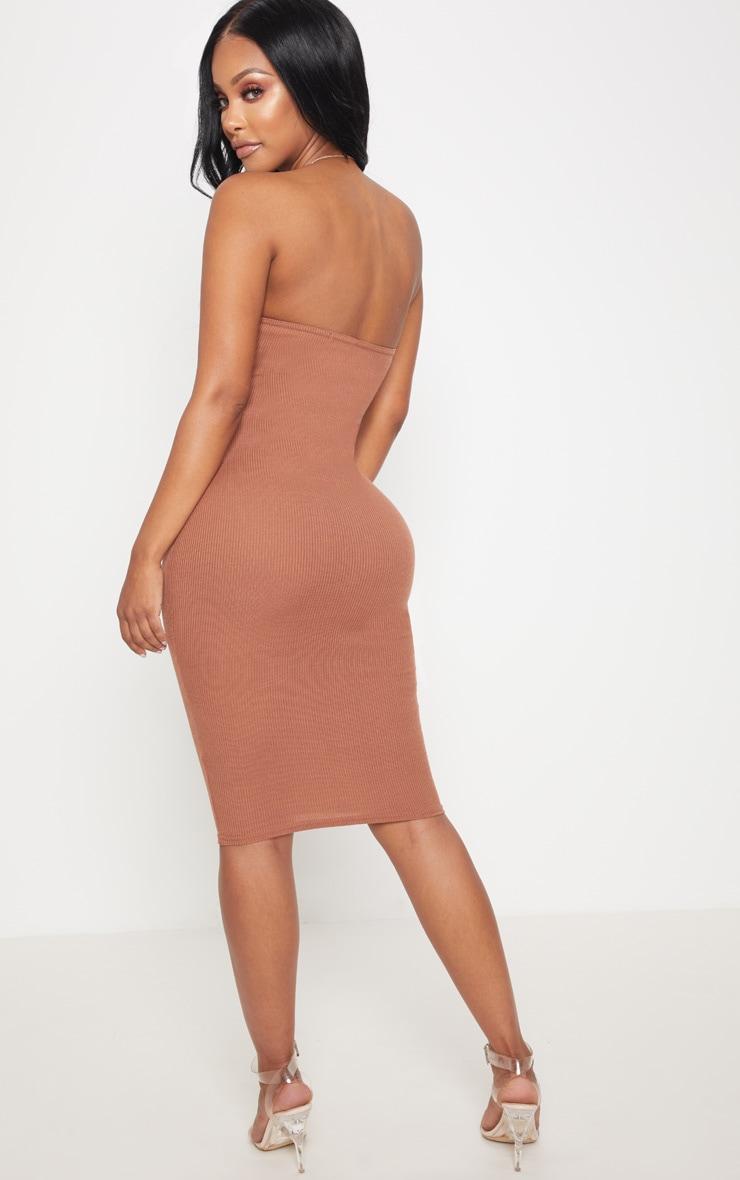 Shape Chocolate Ribbed Bandeau Midi Dress 2