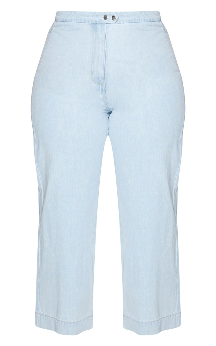 Plus Light Blue Washed Denim Culottes 5