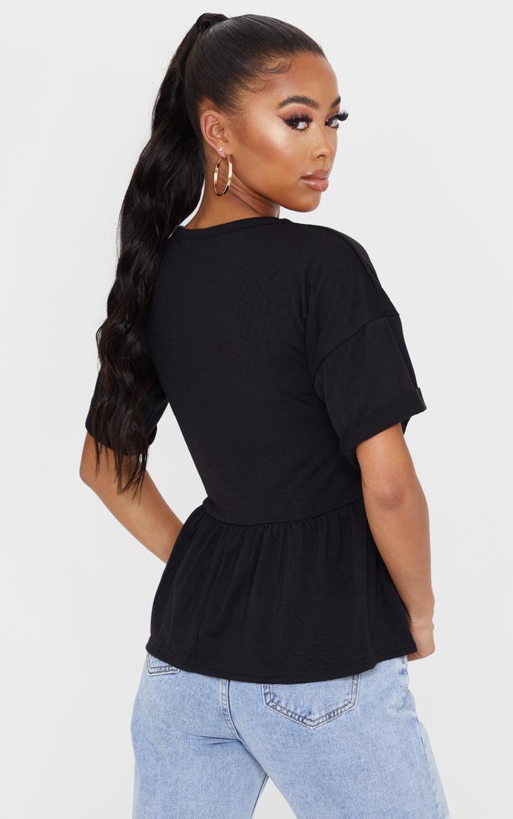 Black Frill Hem T Shirt 2