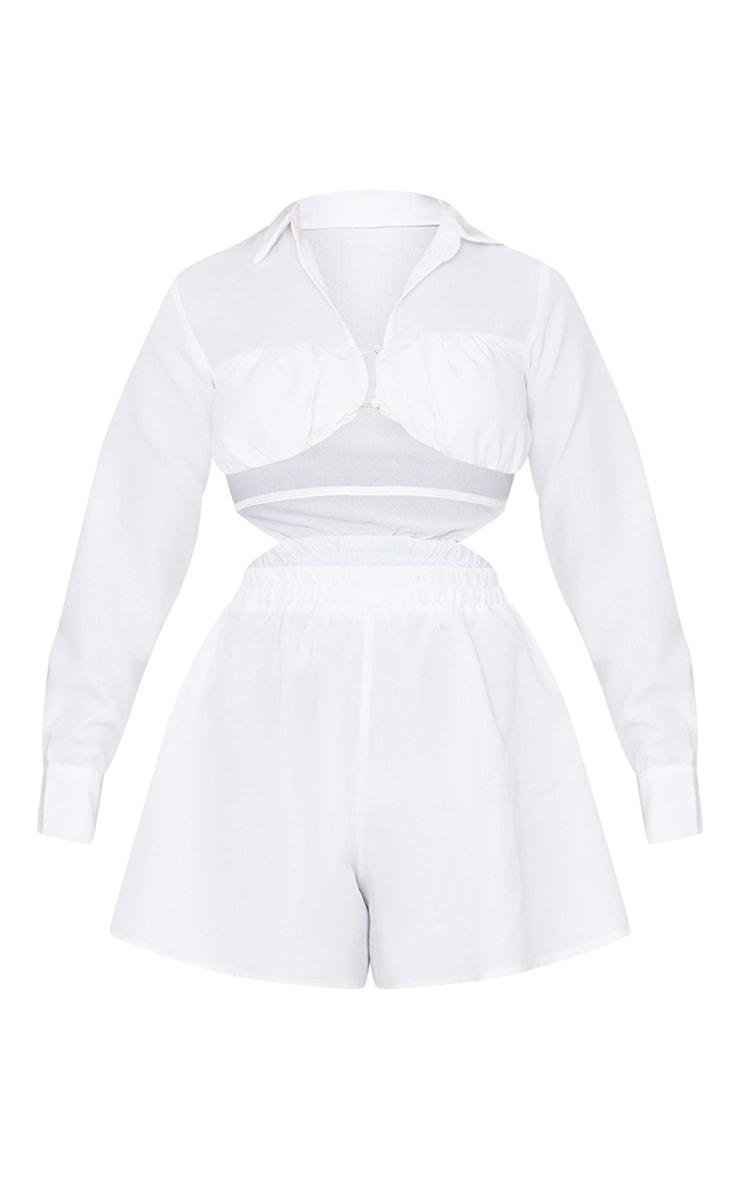 White Cut Out Underbust Strap Detail Shirt Romper 5