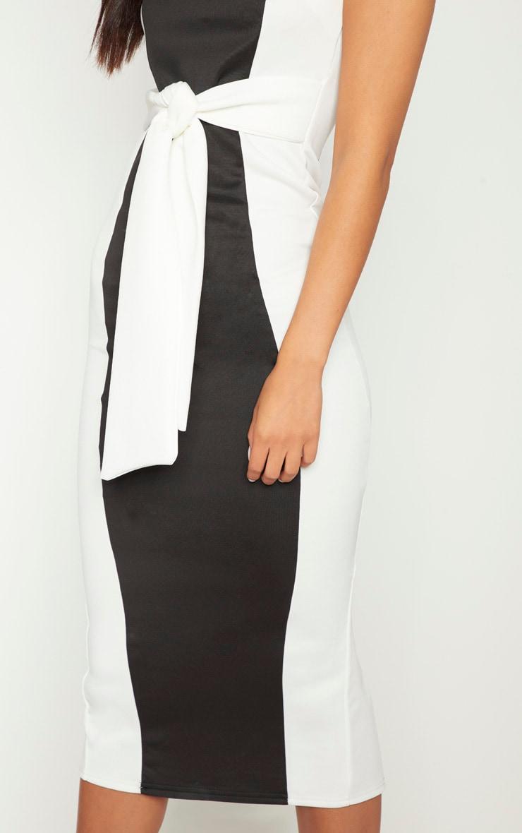 Monochrome Colour Block Tie Detail Midaxi Dress 5