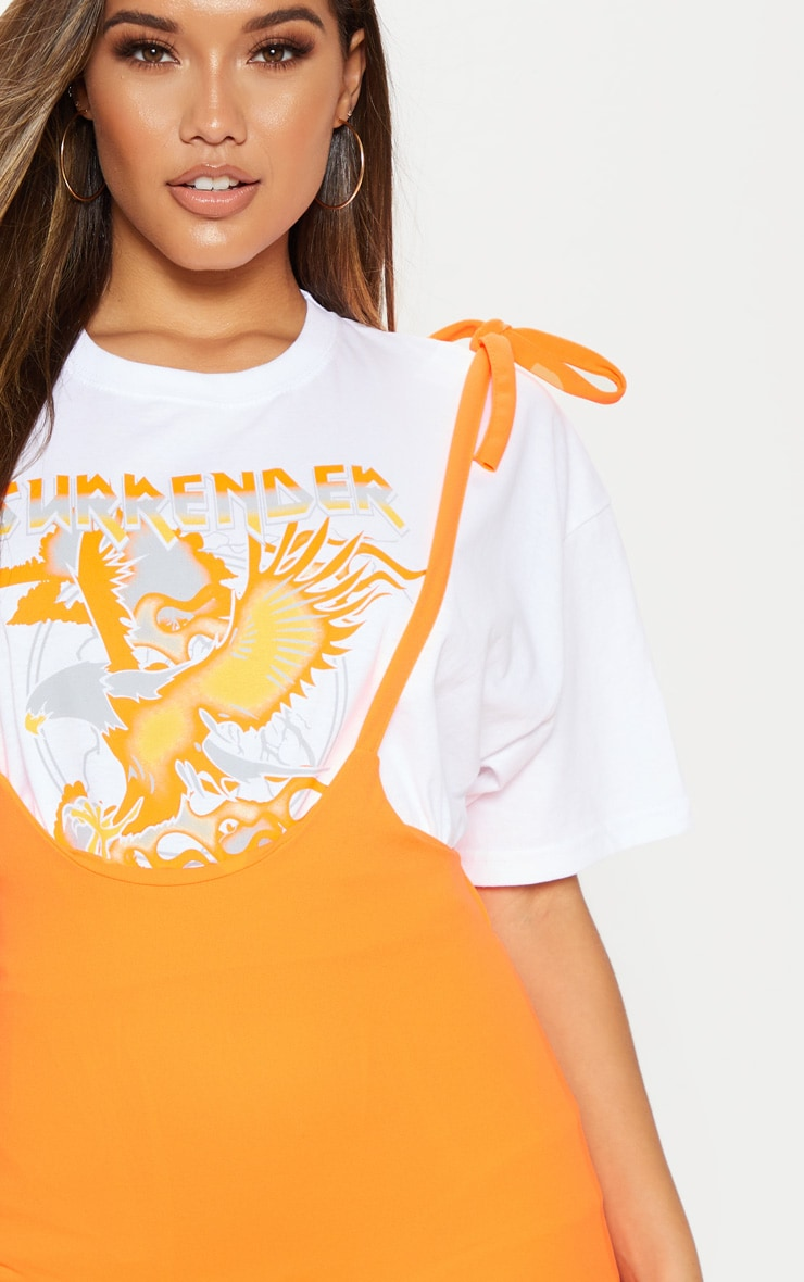 Neon Orange Dungaree Style Mini Skirt 6