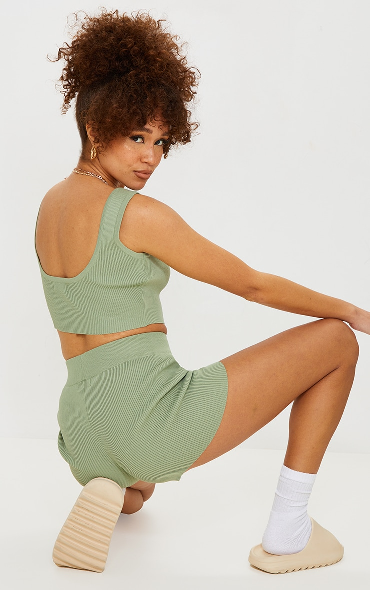 Sage Green Ribbed Scoop Back Knitted Top 2