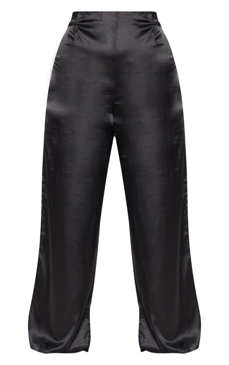 Plus Black Satin Wide Leg Trousers 3