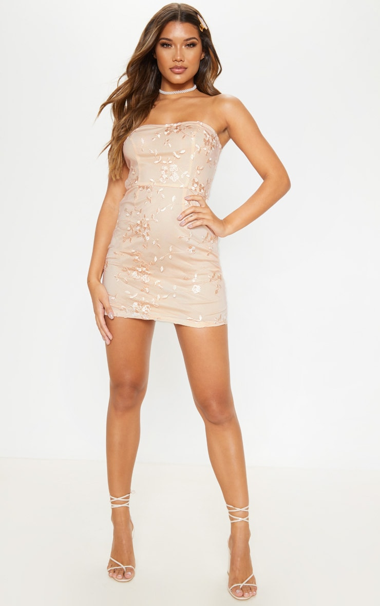 Nude Floral Embroidered Bandeau Bodycon Dress 4