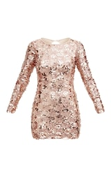 f8d98fff38a5 Rose Gold Sequin Front Long Sleeve Back Tie Detail Bodycon Dress image 3