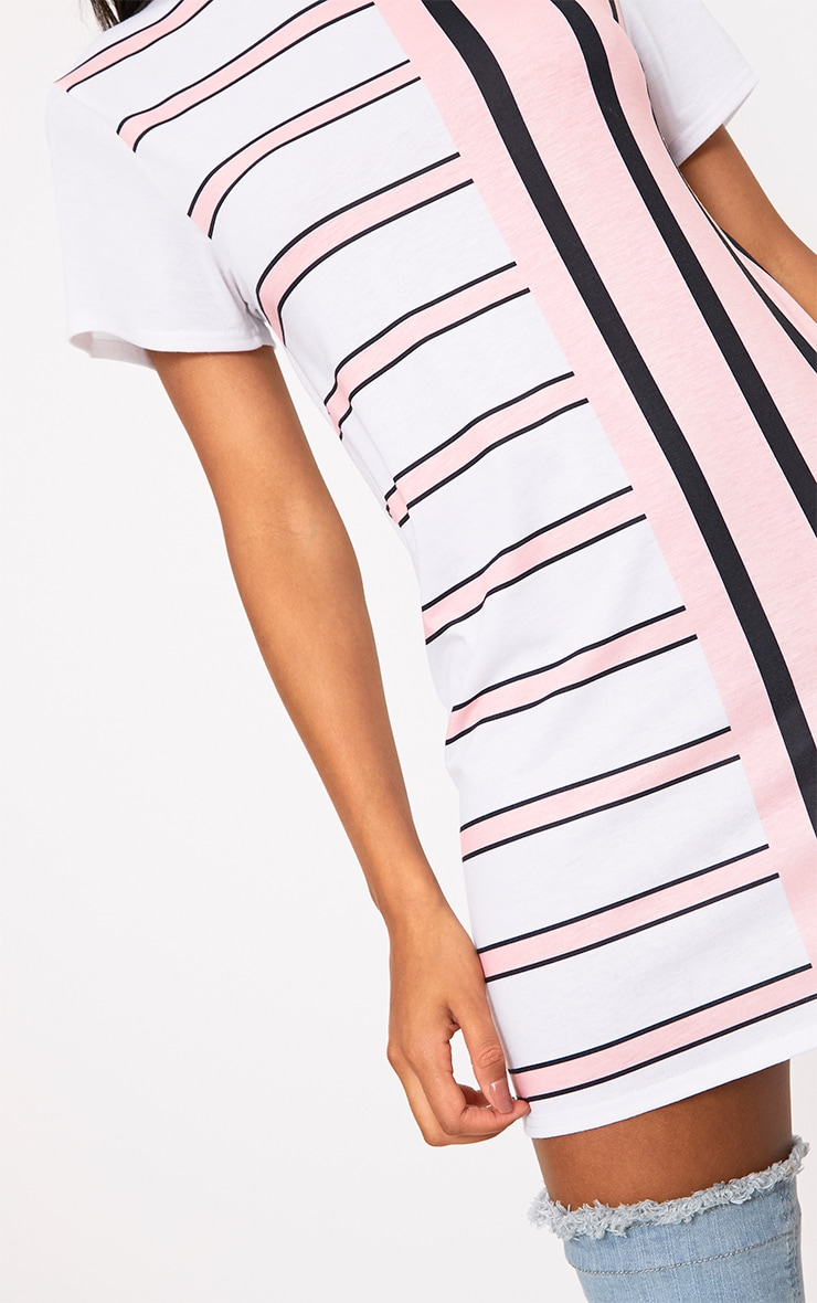 Pink Contrast Stripe T Shirt Dress 5