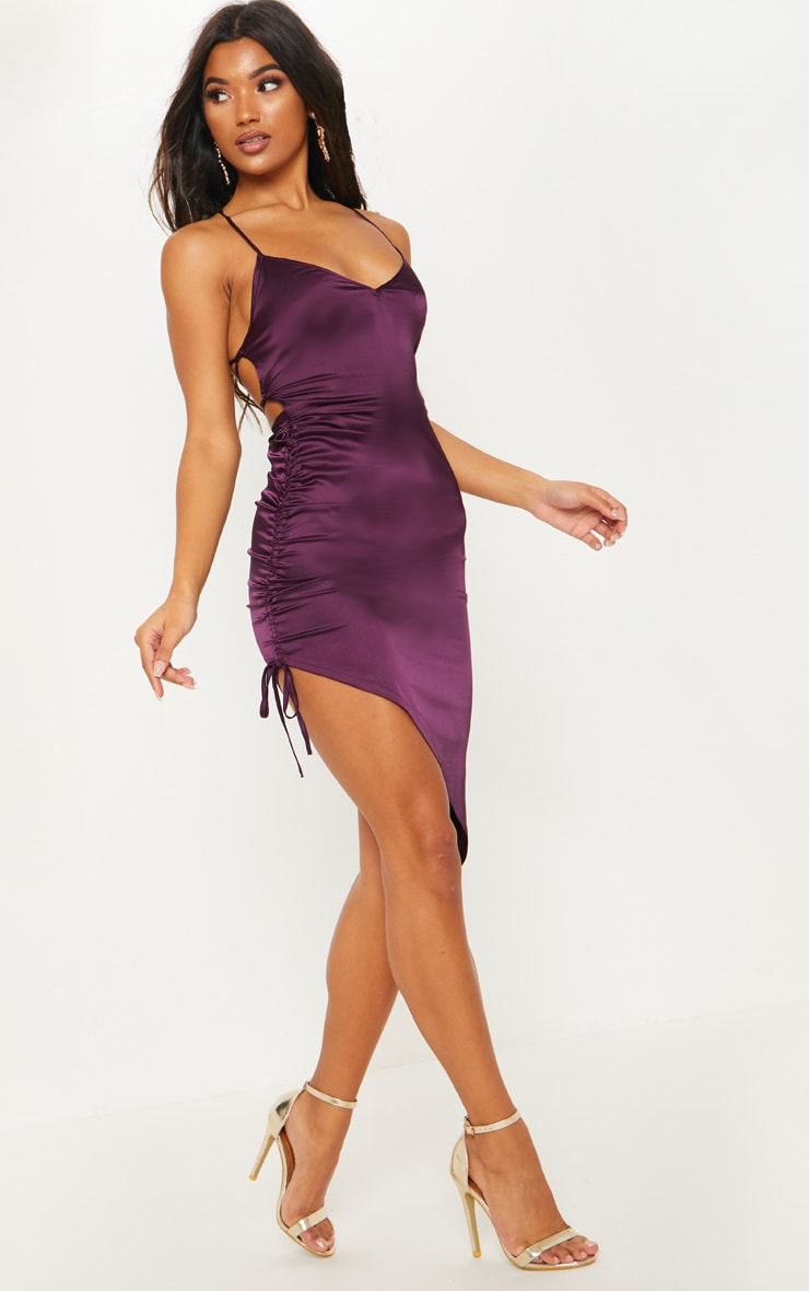Plum Satin Ruched Lace Up Back Midi Dress 4