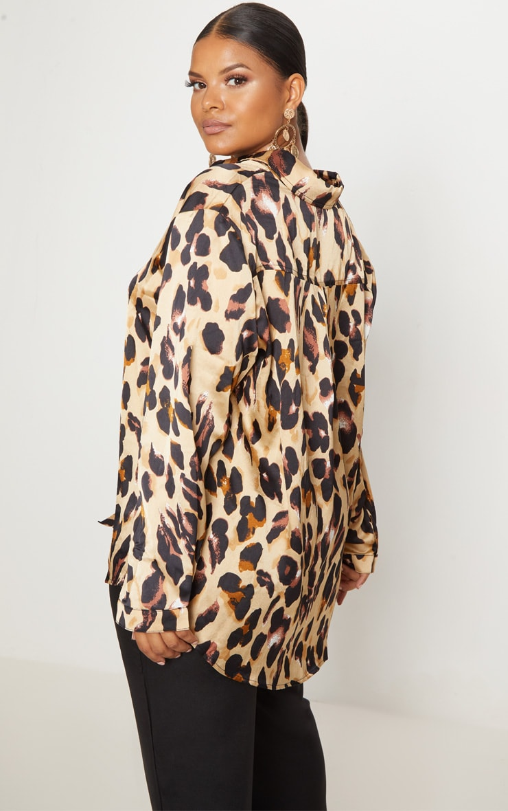 Plus Brown Leopard Print Oversized Shirt 2