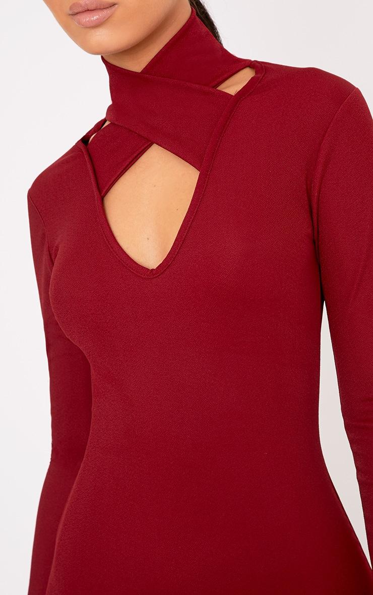 Maryana Burgundy Plunge Choker Neck Bodycon Dress 5
