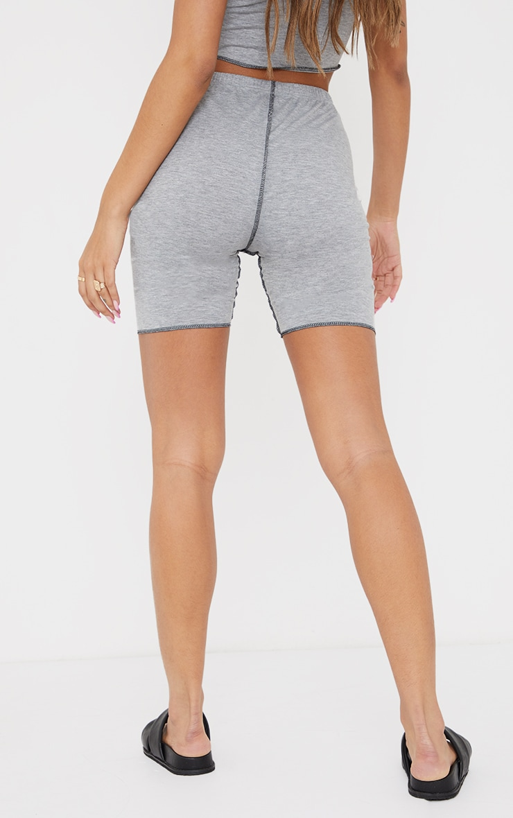 Grey Contrast Stitch Detail Cycle Shorts 3