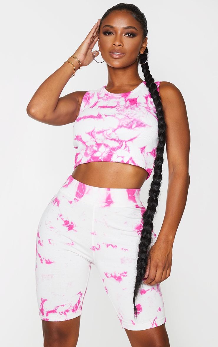 Shape Pink Tie Dye Cotton Bike Shorts 4