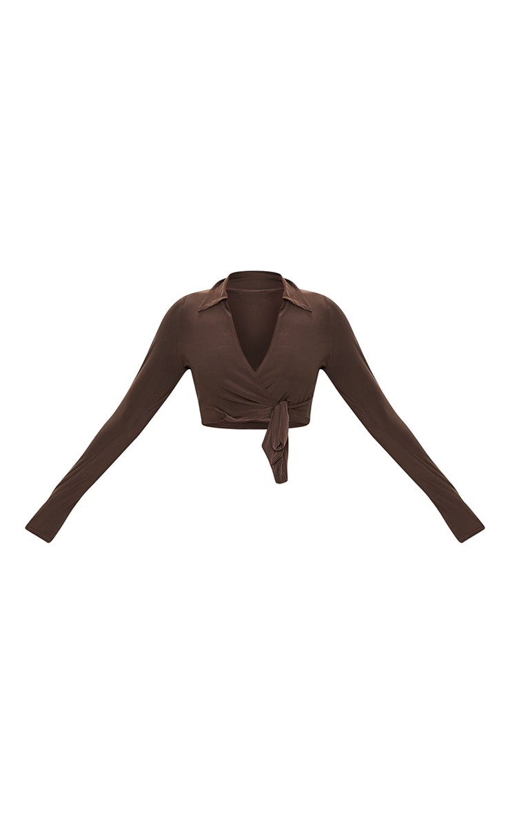 Chocolate Slinky Tie Front Cropped Blouse 5