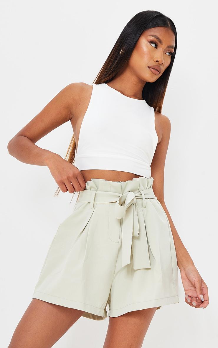 Sage Green Woven Paper Bag Tie Waist Shorts 5