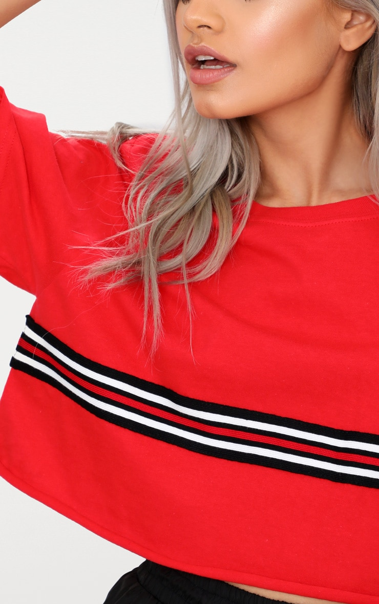 Red Sporty Tape Crop T Shirt  5