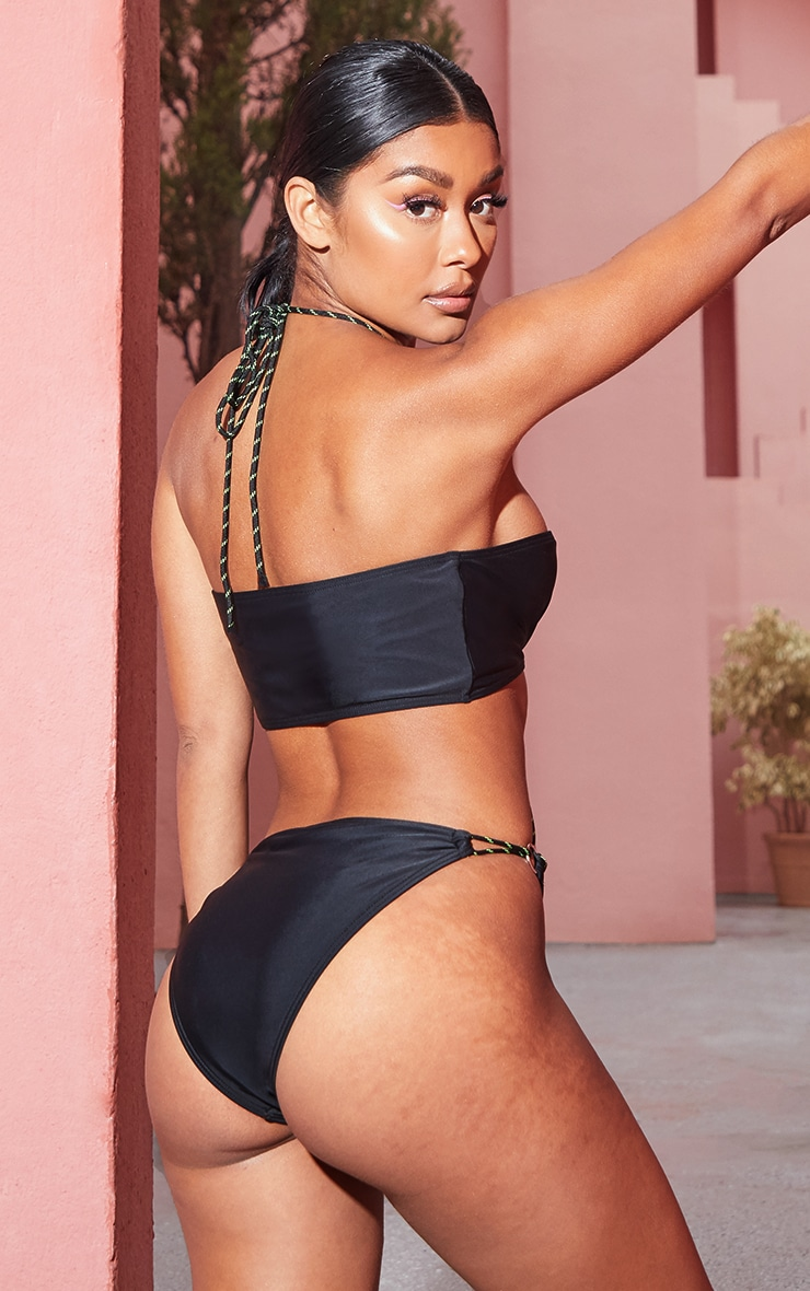 Black Neon Rope Ring Strappy Swimsuit 2
