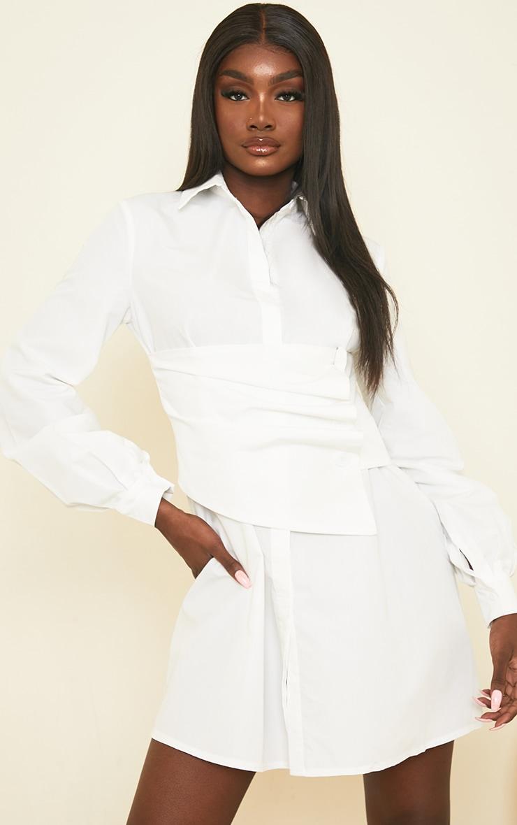 Tall White Corset Detail Shirt Dress 1