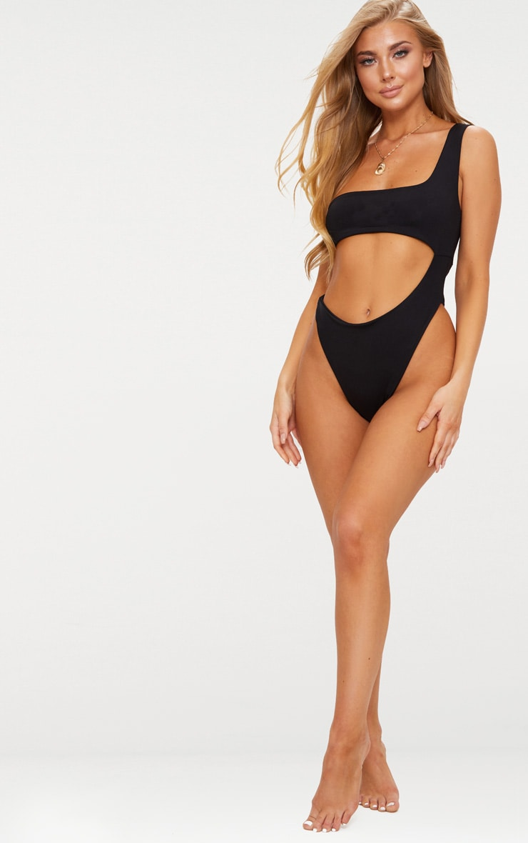 Black One Shoulder Cut Out Swimsuit 5