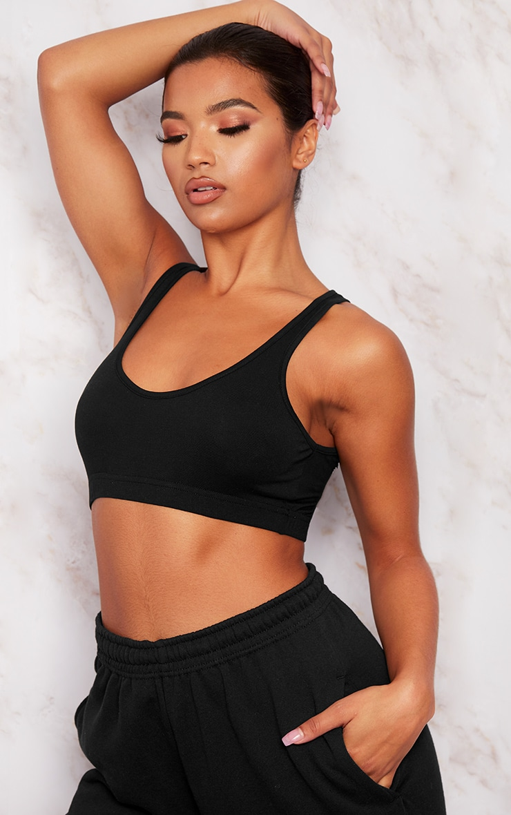 Basic Black Sleeveless Elastic Hem Crop Top 1