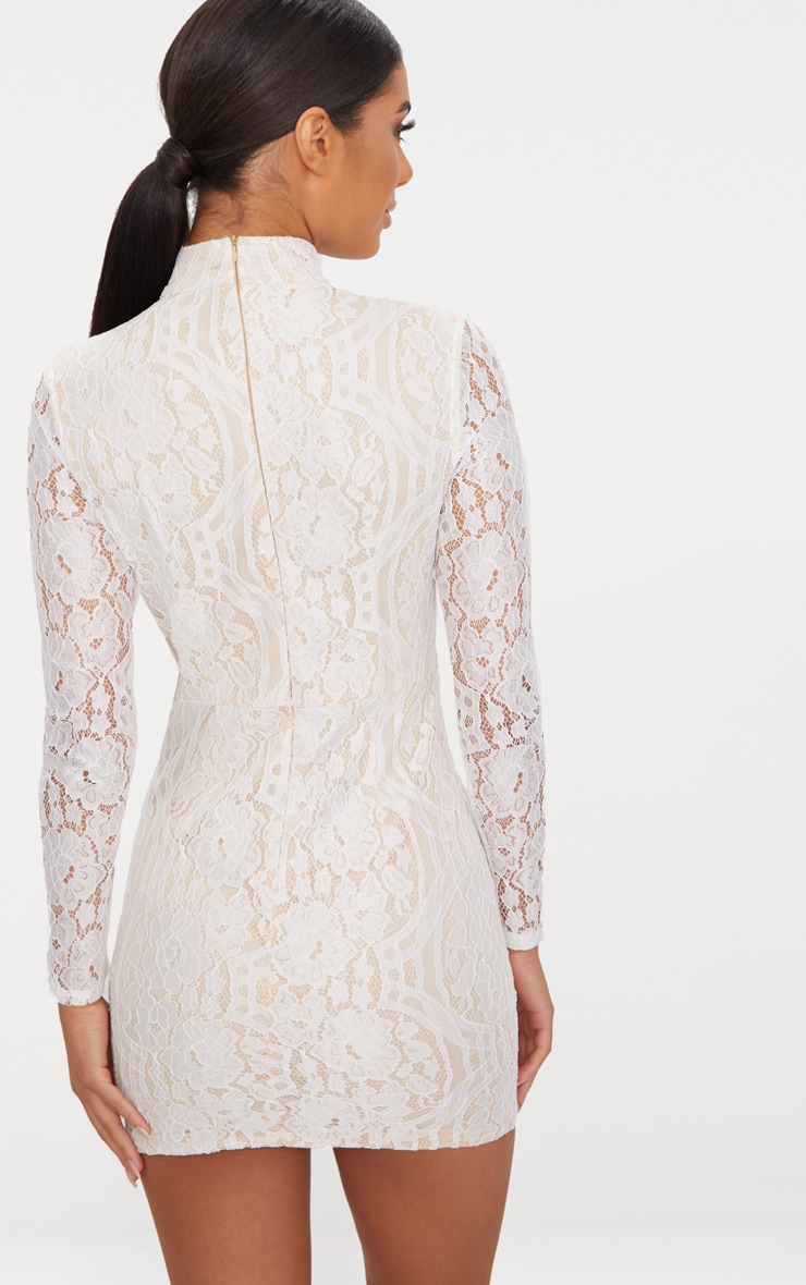 White High Neck Long Sleeve Lace Bodycon Dress 2