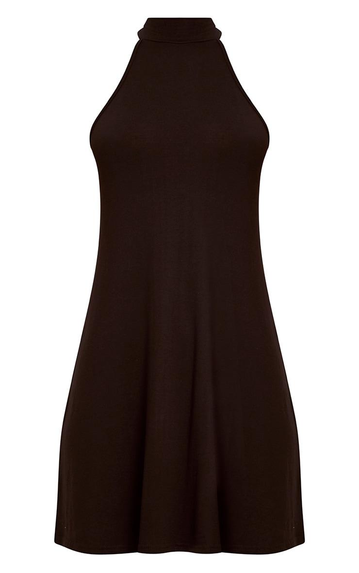 Black Jersey High Neck Swing Dress 3