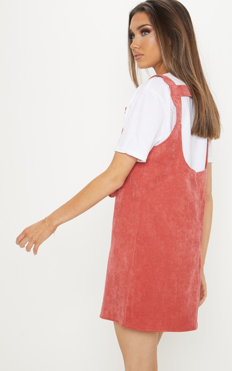 Rust Corduroy Buckle Front Skater Pinafore Dress 2