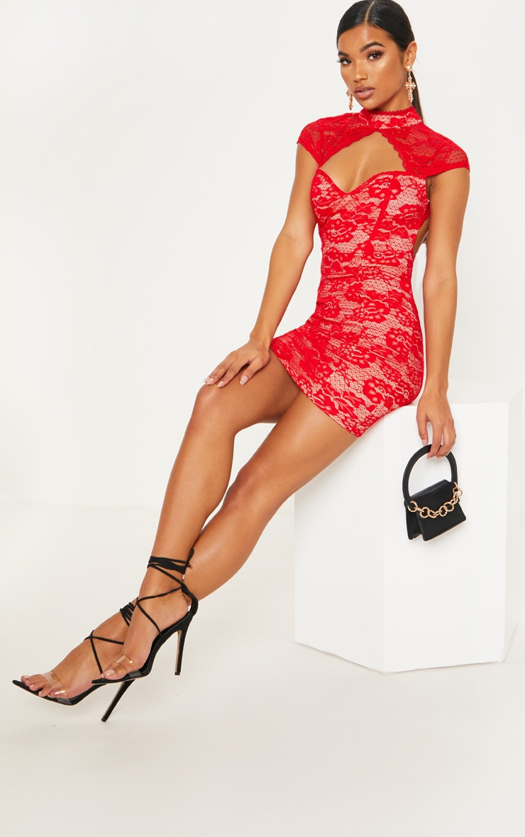 Red Lace Sweetheart Front Backless Bodycon Dress 1