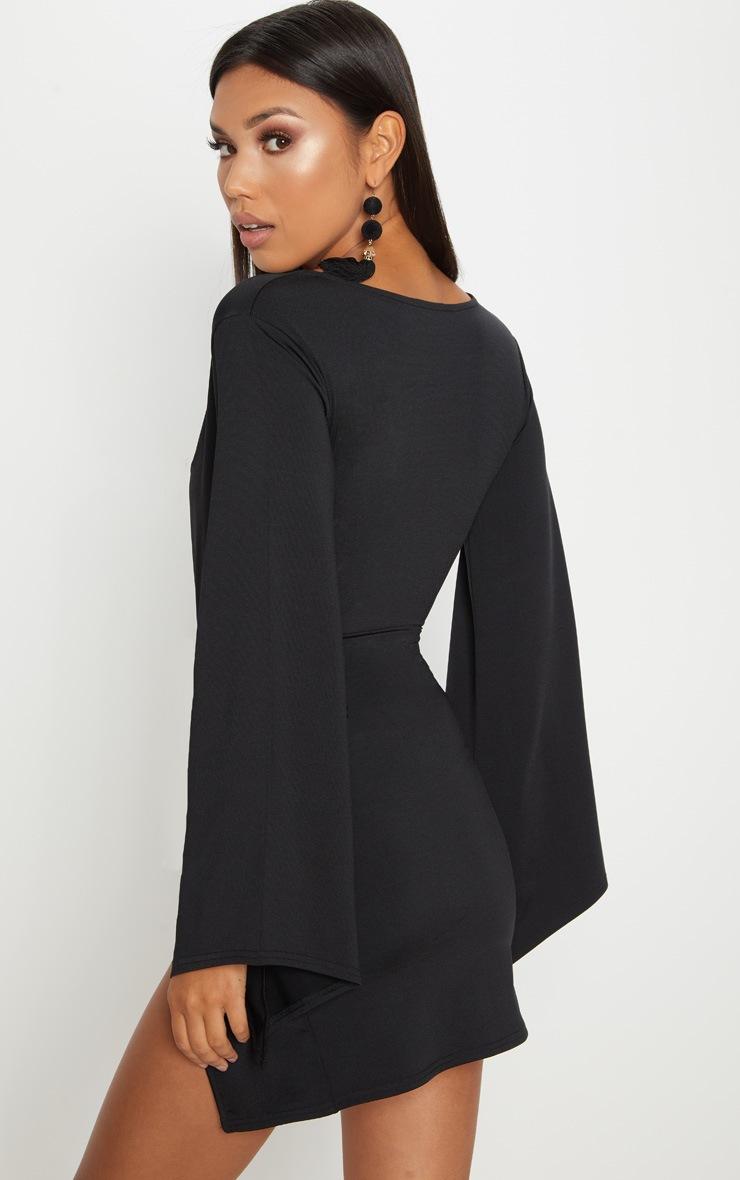 Black Drape Sleeve Plunge Extreme Split Leg Bodycon Dress 2