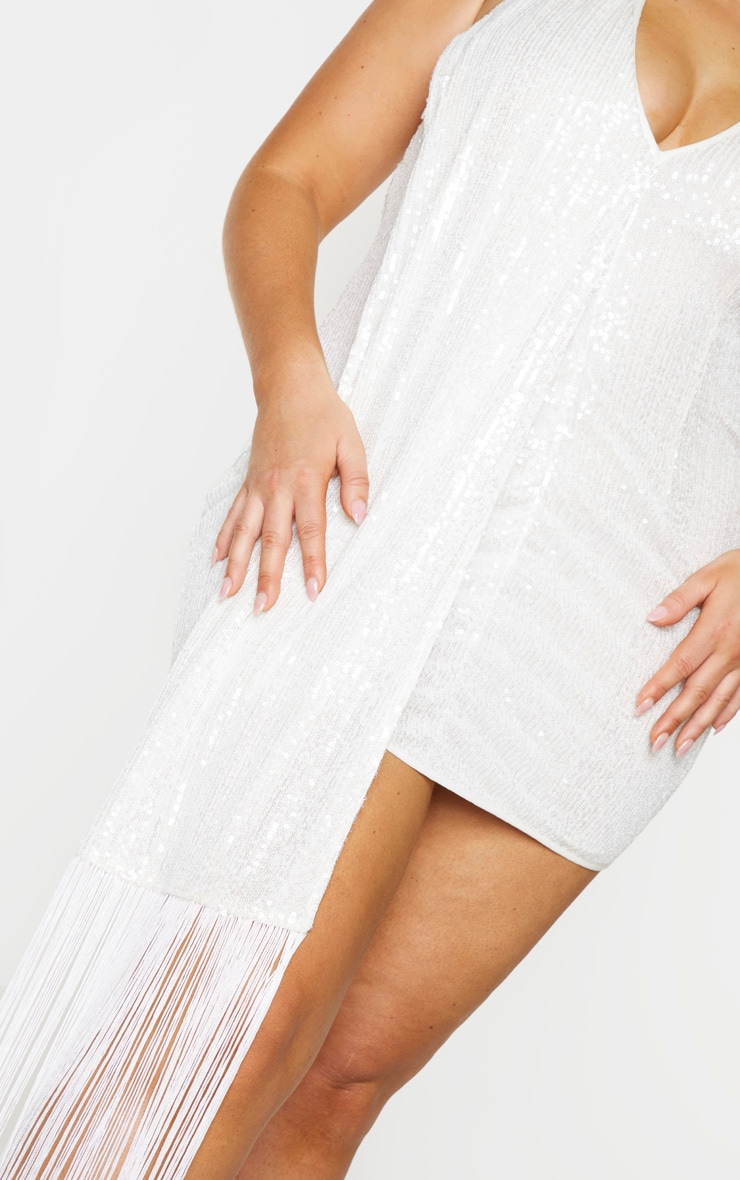 Plus Cream Sequin Halterneck Drape Bodycon Dress 4