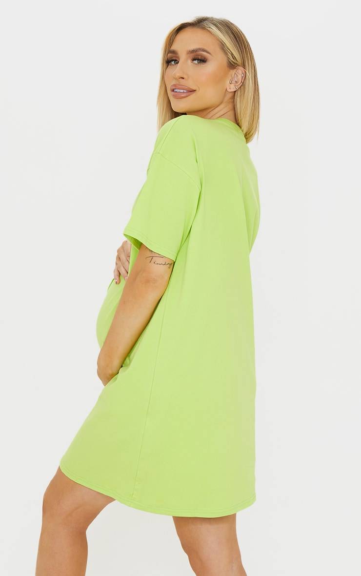 Maternity Lime Washed Lime Oversized Seam Detail T-Shirt Dress 2