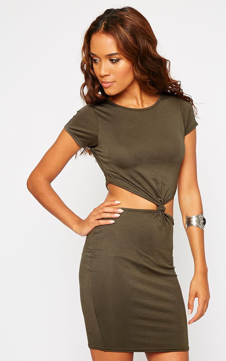 Sukie Khaki Twist Front Mini Dress 4
